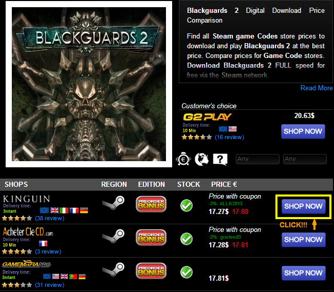 Blackguards 2 Digital Download Price Comparison