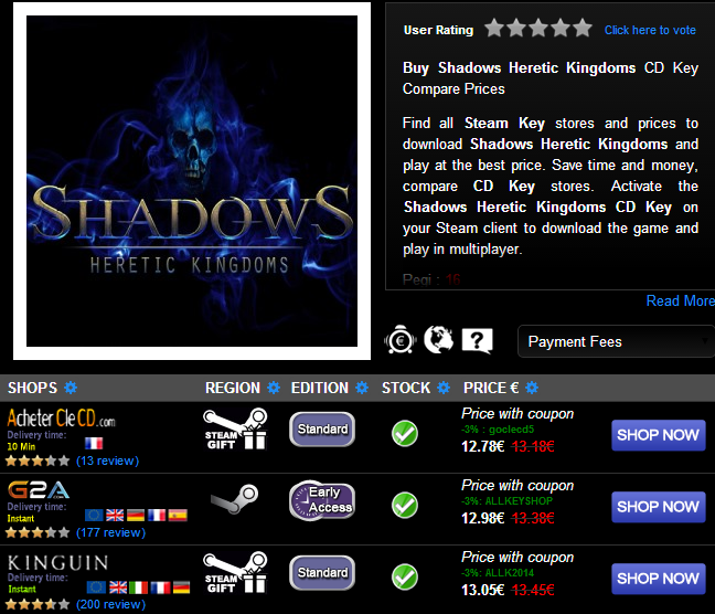 Buy Shadows Heretic Kingdoms CD KEY Compare Prices