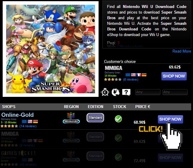 Buy Super Smash Bros Nintendo Wii U Download Code Compare Prices