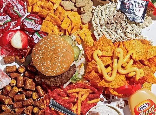 Junk food, burgers, instant noodles