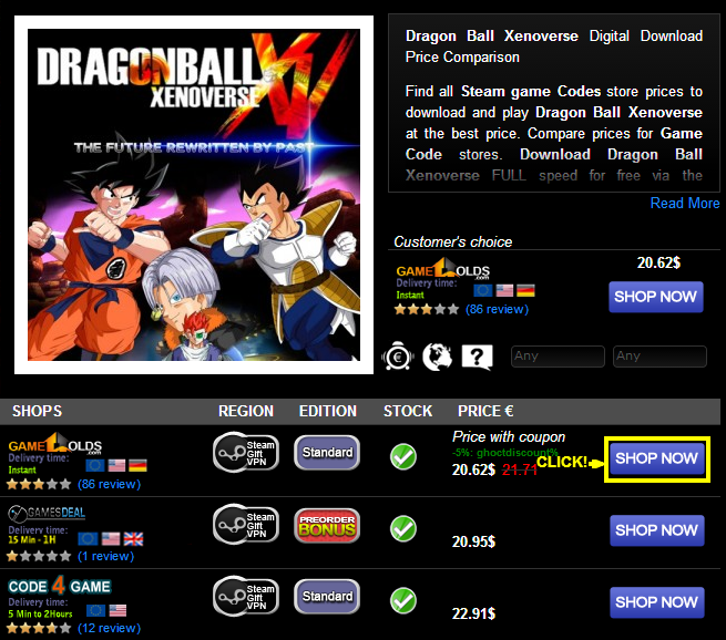 Dragon Ball Xenoverse Digital Download Price Comparison