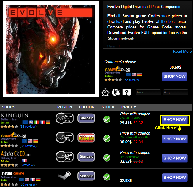 Evolve Digital Download Price Comparison