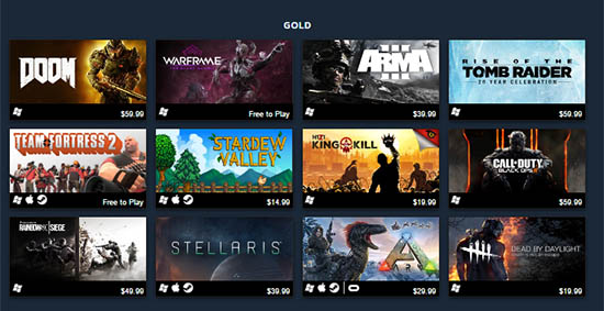 Steam's Best Selling Games Gold