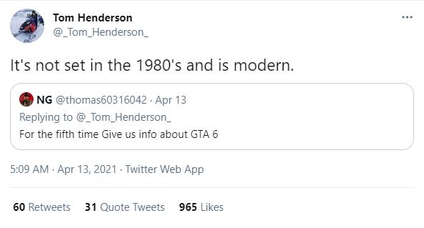 Tom Henderson Tweet