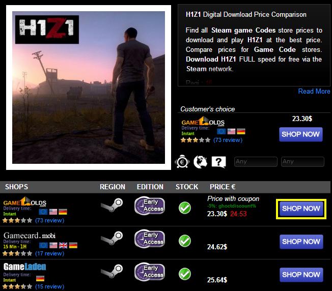 H1Z1 Digital Download Price Comparison