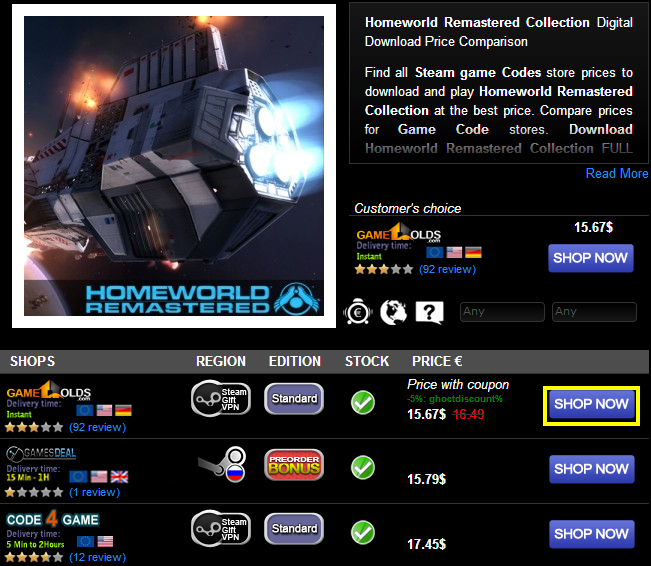 Homeworld Remastered Collection Digital Download Price Comparison