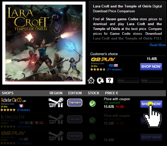 Lara Croft and the Temple of Osiris Digital Download Price Comparison