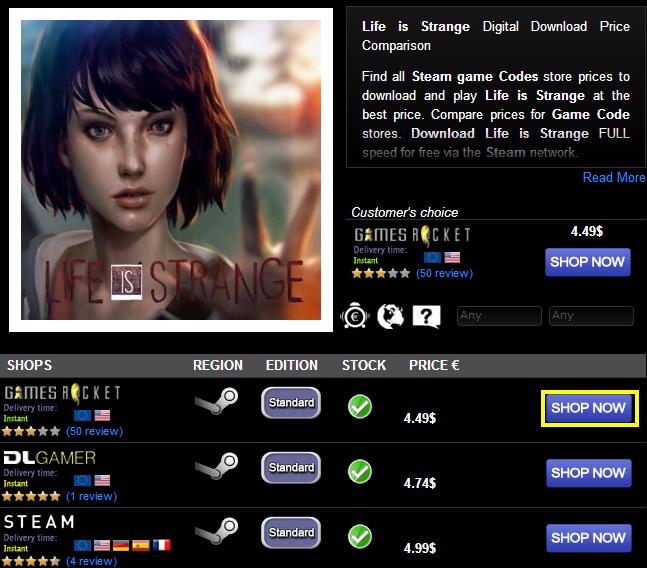 Life is Strange Digital Download Price Comparison