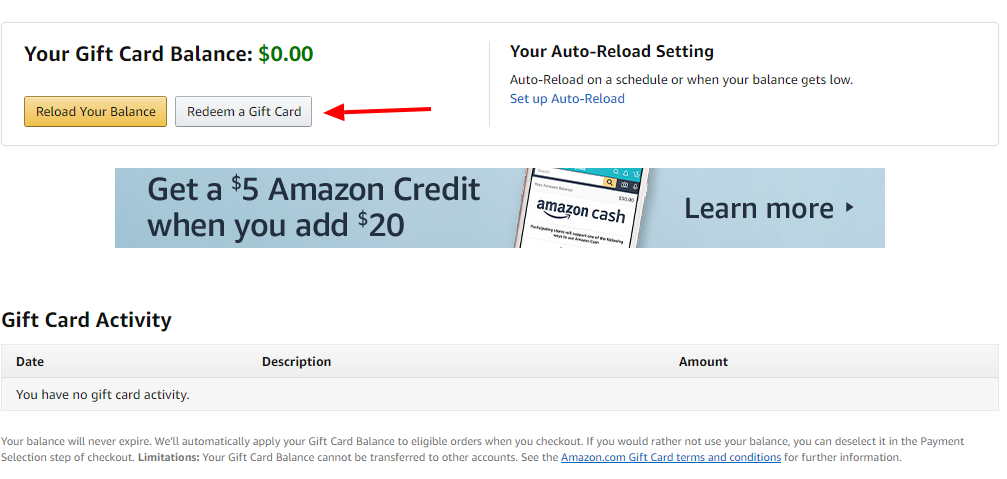 Amazon Redeem a Gift Card