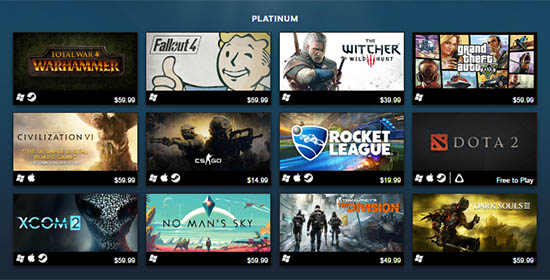 Steam's Best Selling Games Platinum