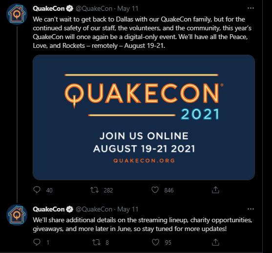 Quakecon 2021 Tweet
