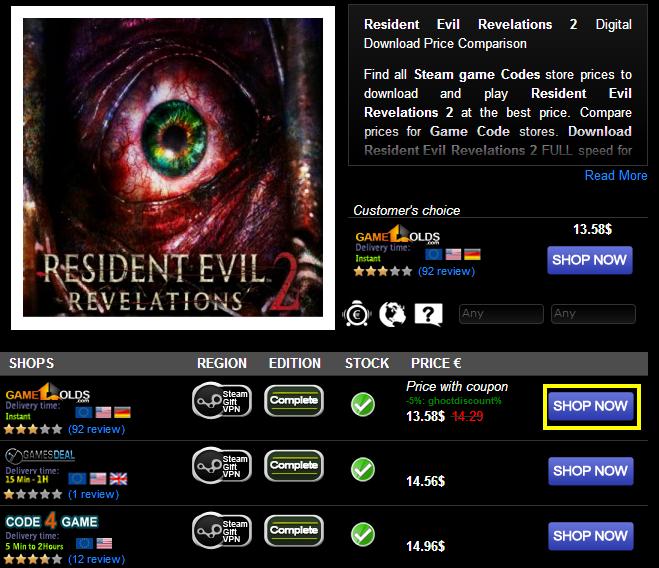 Resident Evil Revelations 2 Digital Download Price Comparison