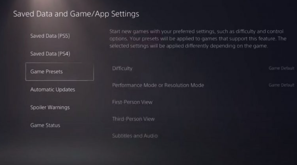 Saved Data Game App Settings