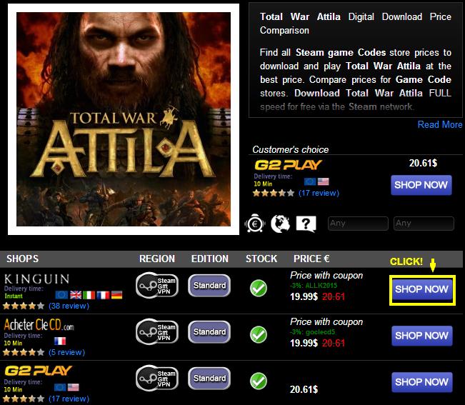 Total War Attila Digital Download Price Comparison