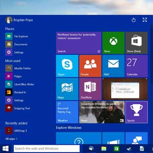 New start menu of Windows 10