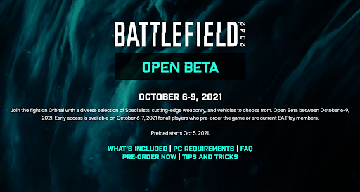 when is the bf 2042 open beta?