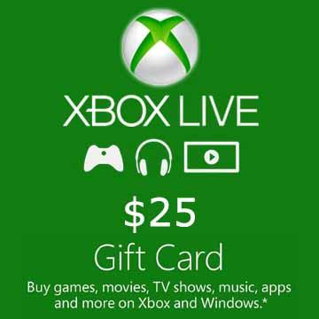 25 USD Gift Card Xbox Live Code Price Comparison