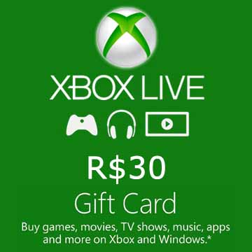30 BRL Gift Card Xbox Live Code Price Comparison