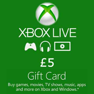 5 GPB Gift Card Xbox Live Code Price Comparison