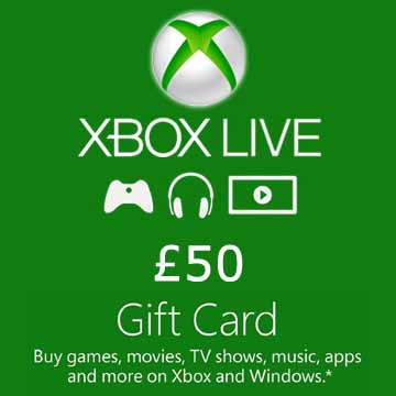 50 GPB Gift Card Xbox Live Code Price Comparison