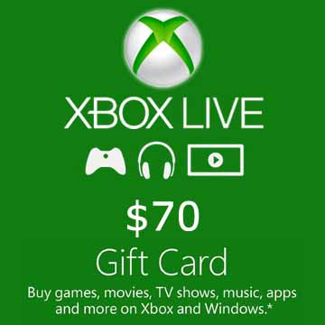 70 USD Gift Card Xbox Live Code Price Comparison