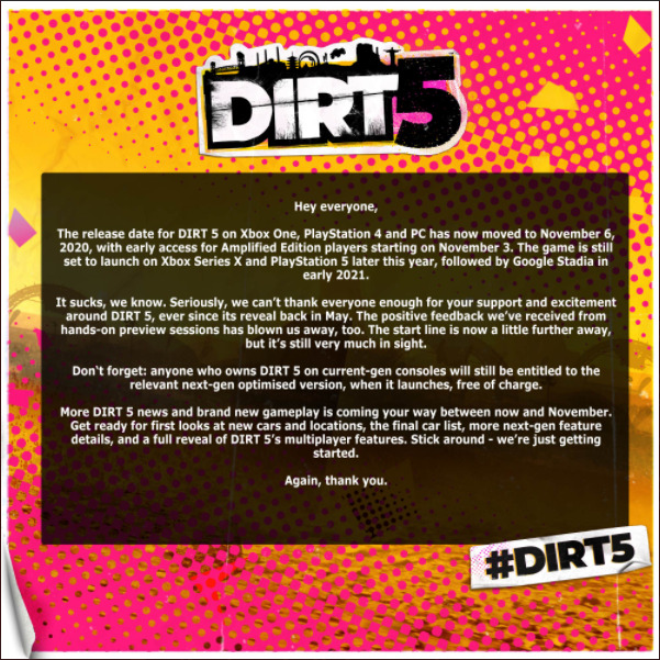 DiRT 5 Announcement