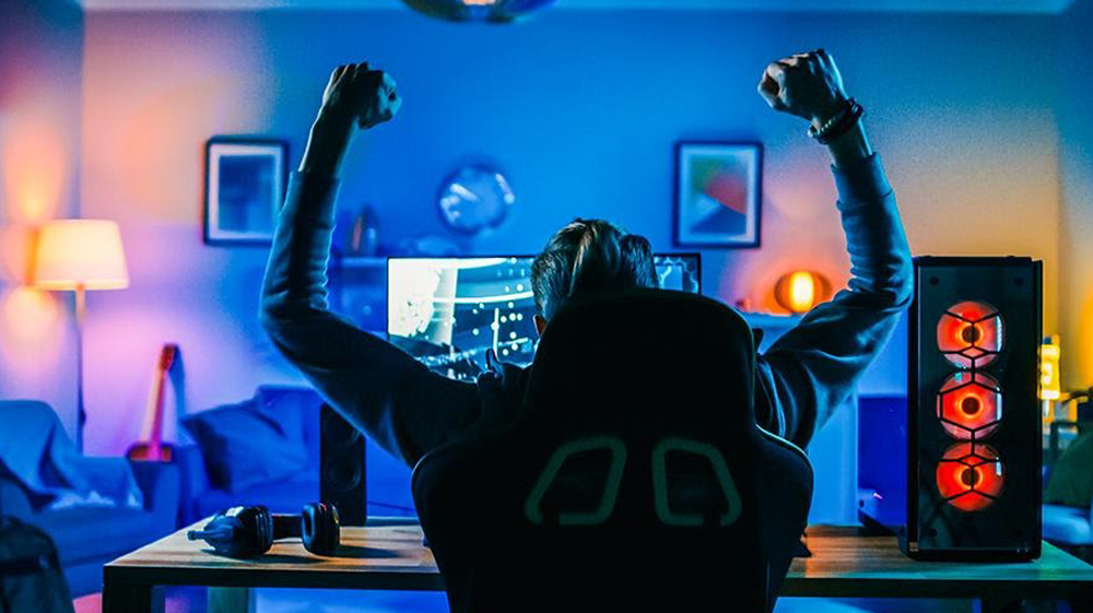 Gamer winning in front of computer