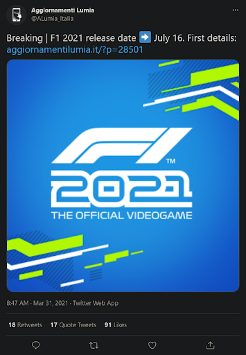 F1 2021 Tweeter Post