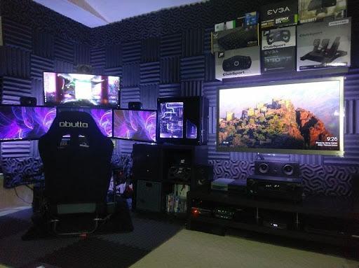 Violet-lit game room