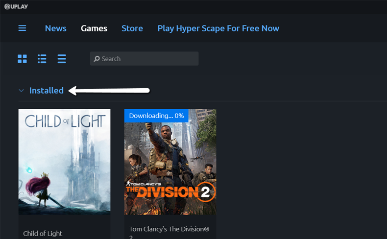 Uplay Installed Games