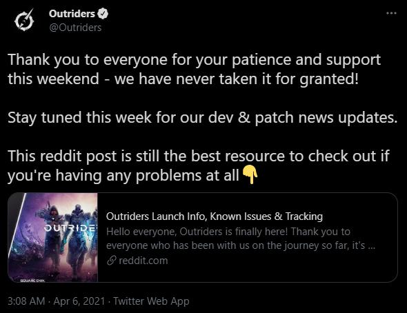 Outriders Tweet