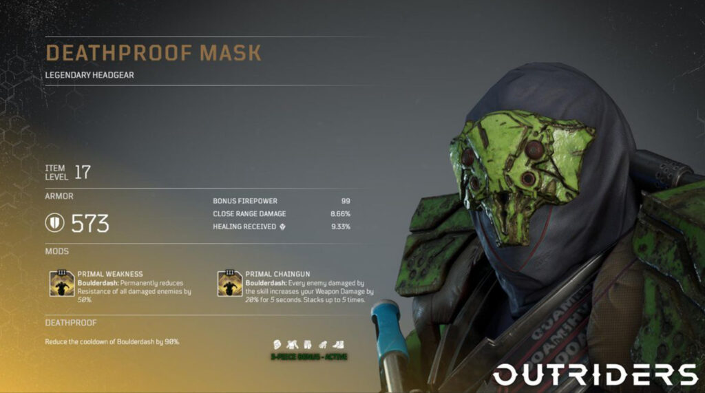 Outriders Death Proof Mask