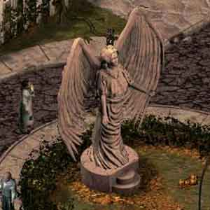 Sanitarium - An Angel Statue in the Yard