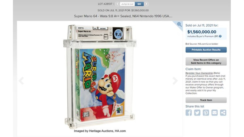 mario 64 sells for record price