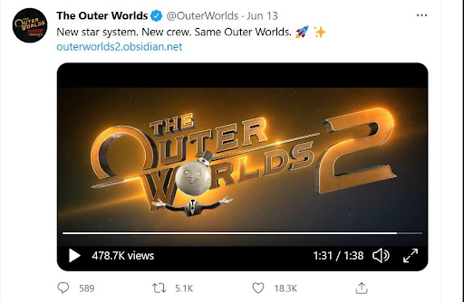 The Outer Worlds 2 Tweet