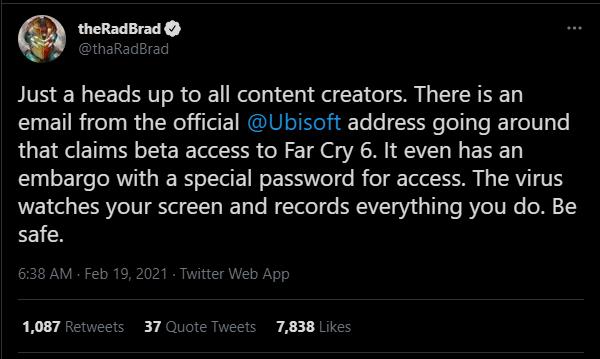 TheRadBrad Twitter Post